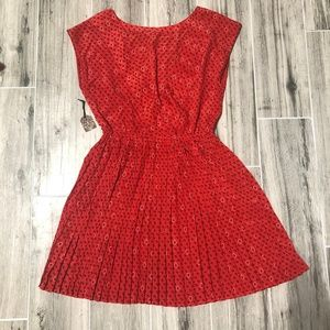 Brand New Forever 21 Red Pleated Floral Dress